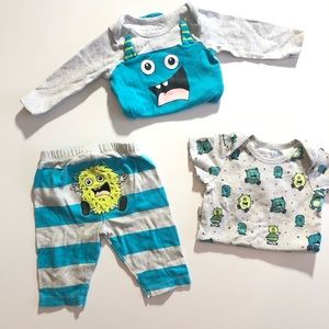 0-3 Months Place 3 Piece Baby Boy Monster Outfit